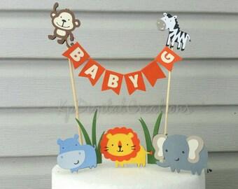 Safari cake topper, Zoo cake topper, safari baby shower, zoo birthday, safari birthday, jungle baby shower, jungle cake topper, monkey cake