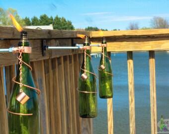 Four 750ml Green Wine Bottle Tiki Torches - Gift for Mom - Outdoor Lighting - Garden Decor - Oil Lamp - Wine Bottle Tiki - Seasonal Decor