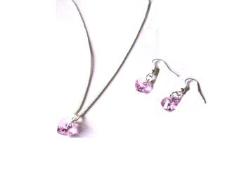SALE: June Birthstone, Light Amethyst Swarovski Crystal, Heart Earrings, Necklace or Set, Sterling Silver, Jewellery Gift for Her, Boxed