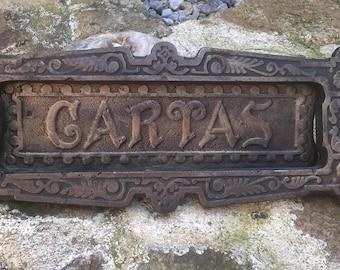 Art Nouveau Spanish Letterbox Slot Cast Brass, c1910