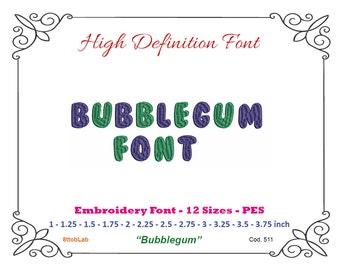 Embroidery font bubblegum