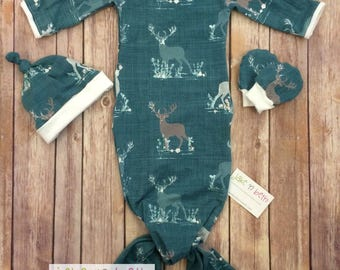 Deer baby knotted gown, hat, and no scratch mittens, newborn set -  deer on teal
