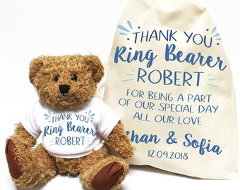 Ring Bearer teddy bear. Personalised wedding day thank you gift. Custom bear. Teddy bear with matching cotton drawstring gift bag.