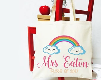 Thank you teacher tote bag. Personalised end of year Teacher gift shopper bag. Rainbow design cotton teacher gift.