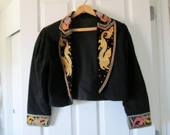 Mariachi Jacket / Cropped Mariachi Black Applique Jacket / Vintage Mariachi Jacket / Mexico / Mariachi Music