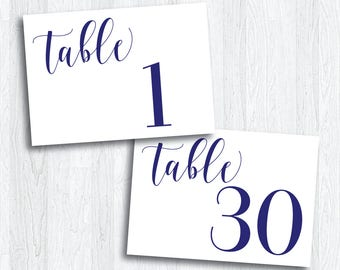 Printable Navy Horizontal Table Numbers 1 - 30 | Instant Download | Navy Table Numbers | Wedding Reception | Anniversary Party (SHINE Set)
