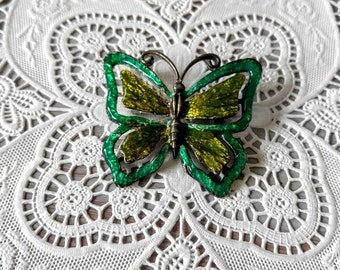 Enameled Vintage Butterfly Brooch So Pretty! Green and Silver-Pin-Insect-All Orders Only 99c Shipping!