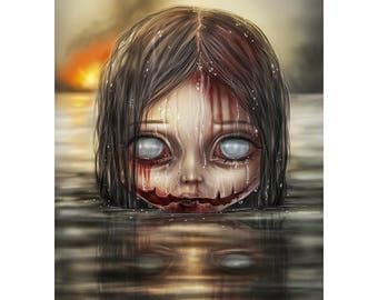 Awoken Abyss ~ Fantasy Art Undead Zombie Digital Painting A4 Print - Little Darlings