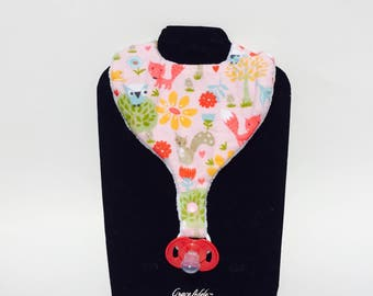 Woodland Animal Bib, Pink Flannel Bib, Pacifier Bib, Teether Bib, Binky Bib, Infant  Bib, Toddler Bib, Woodland Animals for Girls