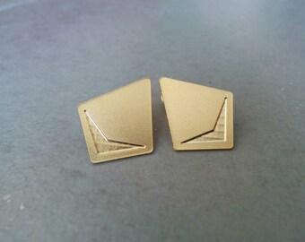 Gold Stud Earrings, Gold Earrings, Stud Earrings, Gold Post Earrings, Ear Studs, Geometric earrings, gold studs, Triangle stud, Wedding Gift