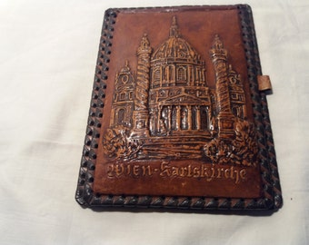 Vintage Handmade Brown Leather Case for Notebook - KARLSKIRCHE - WIEN