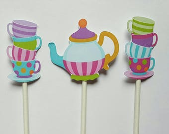 Tea party cupcake toppers - set of 12, cake toppers, tea party centerpiece, tea party cake topper