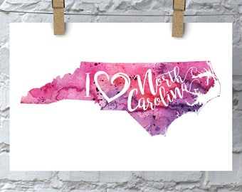 I Heart North Carolina Map Art Print, I Love North Carolina Watercolor Decor Map Painting, NC Giclee US State Art, Housewarming Moving Gift