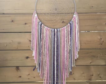 Large Handmade Pink, Purple and Off-White Dreamcatcher, Wall Hanging, Boho Decoration, Hippie Decor, Bedroom Decoration, Wall Decor