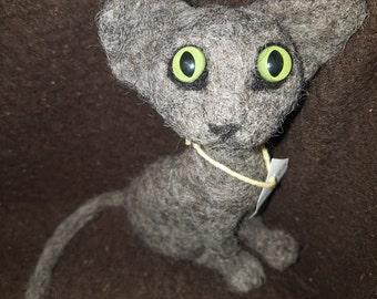 Needle Felted OOAK Crazy Grey Cat