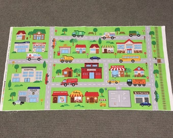 Car fabric. Boys cotton quilting fabric. Road playmat fabric panel. Garbage Dump Fire Truck Emergency Vehicle Police Taxi School Bus Street