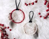 """Red and White Dreamcatcher Ornaments - 2"""""""