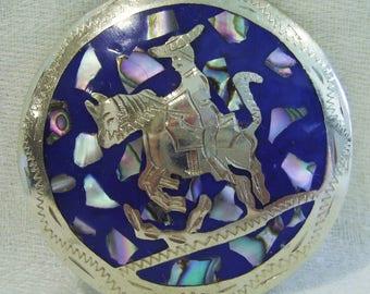 "Old Mexico Alpaca Silver Enamel ABALONE Horse Rider 2.25"" BROOCH Pin PENDANT  *Free Shipping*"