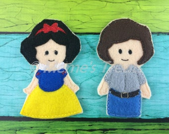 Snow White & Prince Florin - Set of 2 Finger Puppets Inspired by Snow White