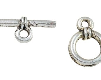 10 Sets 8 mm Base Metal Oxidized Silver Tone Toggle Clasps (BMSTGL0814)