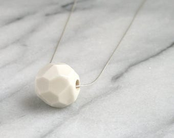 Faceted porcelain white modern pendant ceramic necklace on sterling silver snake chain