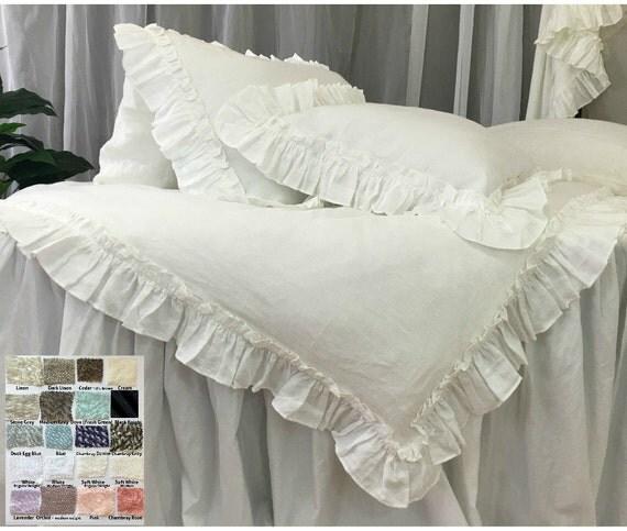 linen ruffled duvet cover with vintage ruffles linen bedding