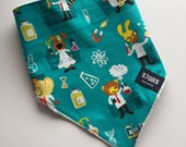 Toddler ajustable bandana with clever science lab animals print, and super soft minky back.