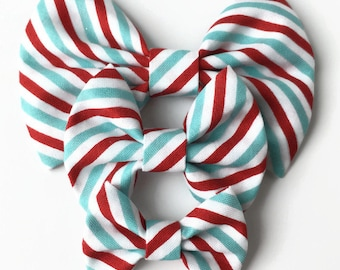 Aqua Red Peppermint Stripe Fabric Hair Bow