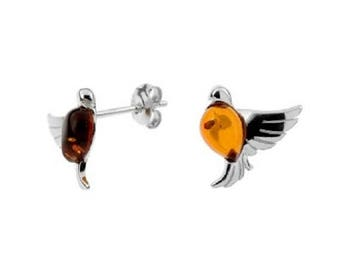 Dove earrings, amber cognac and rhodium silver 925