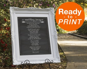Wedding Prayer Sign, Christian Wedding Sign, Prayer Sign, Wedding Prayer, Chalkboard Wedding Decor, Printable Wedding Signs, Max Lucado Sign