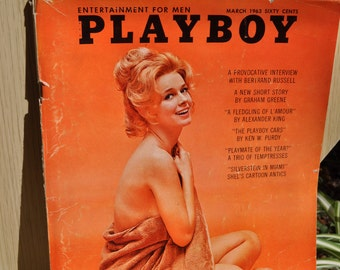 Clearance Item 40% off*******Vintage 1963 March Playboy Magazine-Centerfold Adrienne Moreau