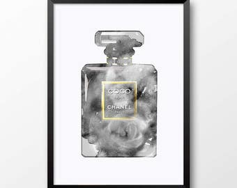 Black and white chanel print, coco chanel perfume wall art, coco chanel print, fashion print, watercolor chanel perfume, modern decor 502