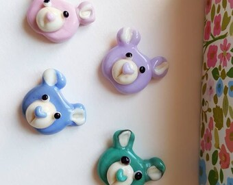 Lampwork Bears - Bear Beads - Pastel Bears - Bear Faces - Lampwork Glass - Glass Beads - Glass Bears - Handmade Beads - Pastel Beads - UK