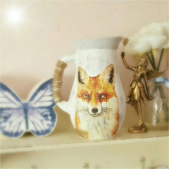 Fox Vase Fox Home Decor Fox Gift Vase For Flowers Rustic