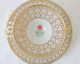 Beautiful Vintage Porcelain Teacup and Saucer, Flower Decor, Winterling Bavaria, Germany
