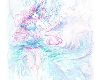 Beautiful Watercolour Faerie Print - The Dancer -