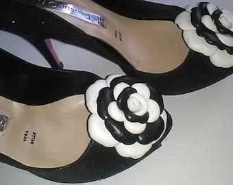 Leather Shoe Clip, Leather clips, Set of 2, Black&white rose clip, Rose shoe clip, Shoe Clips, Rose clips,  Italian handmade.
