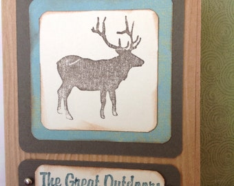 Handmade greetin card- Bull Elk Card-blank inside-elk  card- hunting card - outdoors card- outdoorsman- outdoorswoman