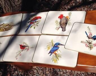 Vintage Placemats-Vintage Bird Placemats-Australian Bird Placemats-Table Mats Protectors-Kingfisher-Wren-Honeyeater-Rosella-Cockatoo-Stint