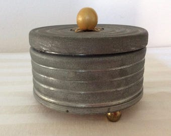 1930's Musical Lady's Powder Box Pewter/Metal