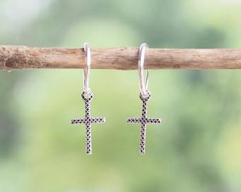 Cross Hoop Earrings, Oxidized 925 Sterling Silver | Minimal Jewelry - MI.21/HP018