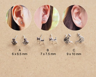 A pair of Cute Cat Stud Earrings, Cat Earrings, Cartilage Stud, 925 Sterling Silver, Animal Jewelry, Gift for her - SA3/SB16-17