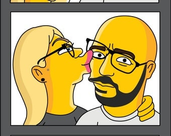 Photobooth styled YELLOW Character Couple Portrait