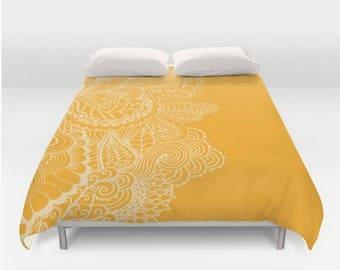 Sale* Queen Duvet Cover Marigold Mehndi India Indian Printed Design Pattern Orange Yellow Queen Bedspread Bedding