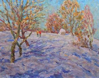 "VINTAGE IMPRESSIONIST ART Original Oil Painting ""On a walk"" by Soviet Ukrainian artist M.Borymchuk 1980s, Woodland scenery, Winter Landscape"