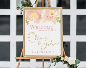 Wedding Welcome Sign, Watercolor Blush and Gold Peony Wedding Sign, Large Sign - PRINTABLE - Digital File
