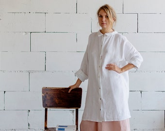100% Linen White Dress, hand made in London, sustainable, artisan, fashion