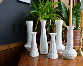Vintage Milk Glass Vase Lot Milk Glass Flower Vases Set of Six // Vintage Flower Vases // Wedding Decor Milk Glass Vase Collection