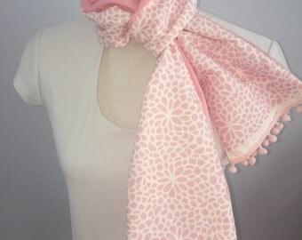 Pink Zinnia Pompom Scarf