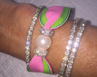 Pink and green Pearl and Rhinestone Bracelet